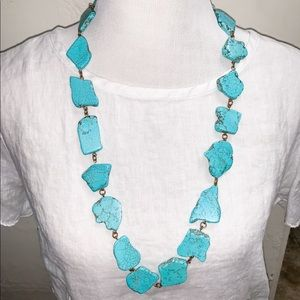Turquoise marble stone necklace